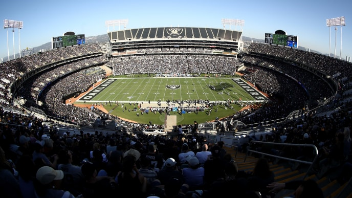 OAKLAND, CALIFORNIA - NOVEMBER 03:   A general view during the Oakland Raiders game against the Detroit Lions at RingCentral Coliseum on November 03, 2019 in Oakland, California. (Photo by Ezra Shaw/Getty Images)