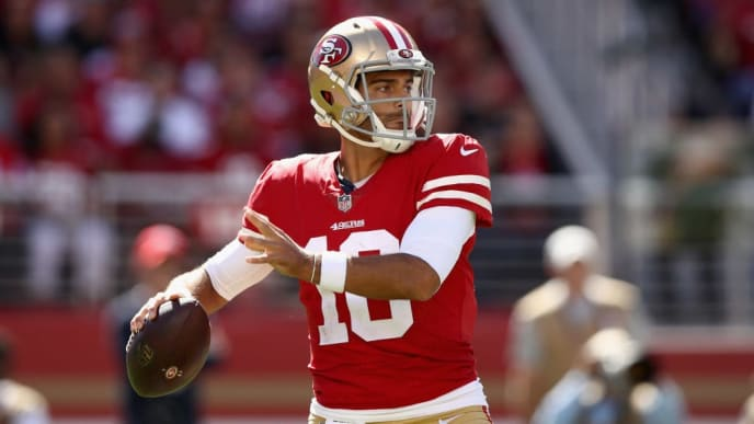 SANTA CLARA, CA - SEPTEMBER 16:  Jimmy Garoppolo #10 of the San Francisco 49ers in action against the Detroit Lions at Levi's Stadium on September 16, 2018 in Santa Clara, California.  (Photo by Ezra Shaw/Getty Images)