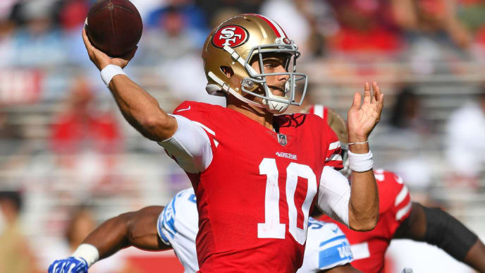 SANTA CLARA, CA - SEPTEMBER 16:  Jimmy Garoppolo #10 of the San Francisco 49ers drops back to pass against the Detroit Lions during the fourth quarter of an NFL football game at Levi's Stadium on September 16, 2018 in Santa Clara, California.  (Photo by Thearon W. Henderson/Getty Images)