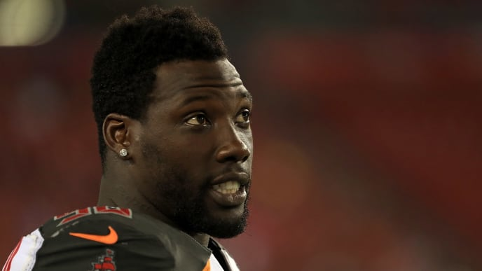TAMPA, FL - AUGUST 24:  Jason Pierre-Paul #90 of the Tampa Bay Buccaneers looks on during a preseason game against the Detroit Lions at Raymond James Stadium on August 24, 2018 in Tampa, Florida.  (Photo by Mike Ehrmann/Getty Images)