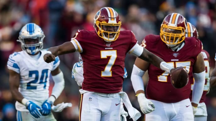 LANDOVER, MD - NOVEMBER 24: Dwayne Haskins #7 of the Washington Redskins celebrates after running for a first down against the Detroit Lions during the second half at FedExField on November 24, 2019 in Landover, Maryland. (Photo by Scott Taetsch/Getty Images)