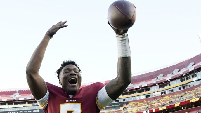 LANDOVER, MD - NOVEMBER 24: Dwayne Haskins #7 of the Washington Redskins celebrates after the Redskins defeated the Detroit Lions 19-16 at FedExField on November 24, 2019 in Landover, Maryland. (Photo by Patrick McDermott/Getty Images)