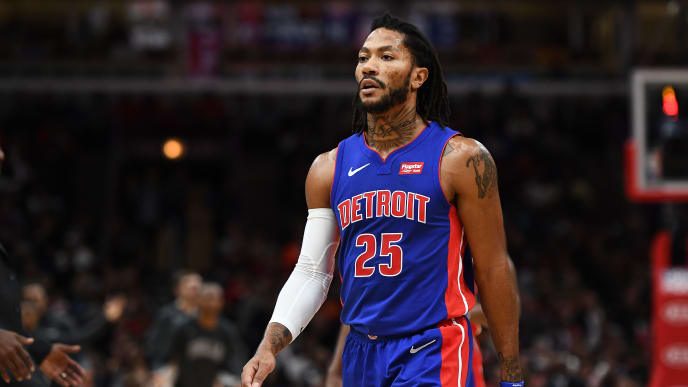 CHICAGO, ILLINOIS - NOVEMBER 01:  Derrick Rose #25 of the Detroit Pistons walks to the bench during a game against the Chicago Bulls at United Center on November 01, 2019 in Chicago, Illinois. NOTE TO USER: User expressly acknowledges and agrees that, by downloading and or using this photograph, User is consenting to the terms and conditions of the Getty Images License Agreement. (Photo by Stacy Revere/Getty Images)