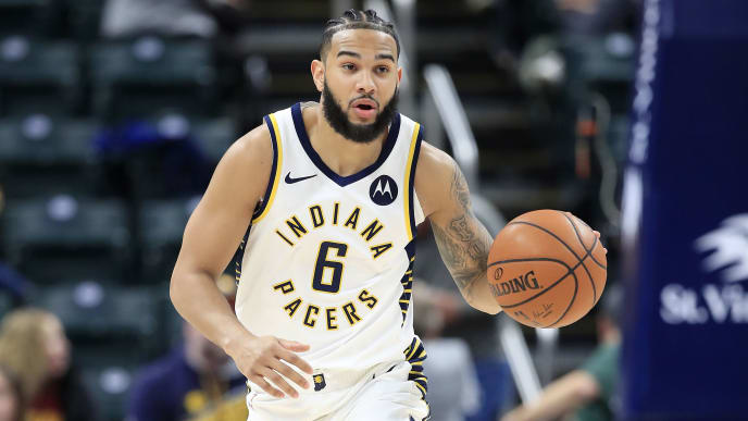 INDIANAPOLIS, INDIANA - APRIL 01:   Cory Joseph #6 of the Indiana Pacers dribbles the ball against the Detroit Pistons at Bankers Life Fieldhouse on April 01, 2019 in Indianapolis, Indiana. NOTE TO USER: User expressly acknowledges and agrees that, by downloading and or using this photograph, User is consenting to the terms and conditions of the Getty Images License Agreement.  (Photo by Andy Lyons/Getty Images)