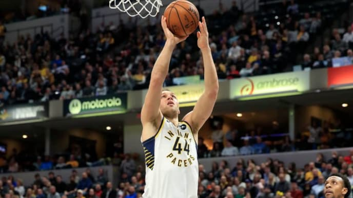 INDIANAPOLIS, INDIANA - APRIL 01:   Bojan Bogdanovic #44 of the Indiana Pacers shoots the ball against the Detroit Pistons at Bankers Life Fieldhouse on April 01, 2019 in Indianapolis, Indiana. NOTE TO USER: User expressly acknowledges and agrees that, by downloading and or using this photograph, User is consenting to the terms and conditions of the Getty Images License Agreement.  (Photo by Andy Lyons/Getty Images)