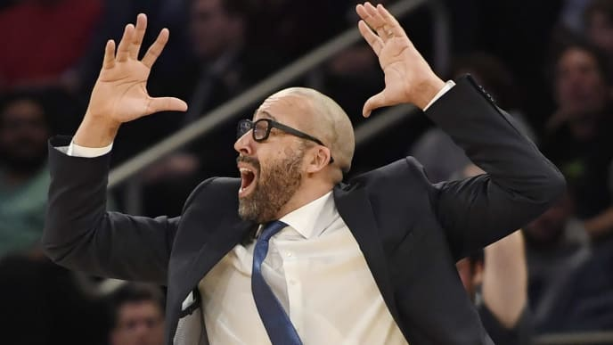 NEW YORK, NEW YORK - FEBRUARY 05: Head coach David Fizdale of the New York Knicks reacts after a call during the third quarter of the game against the Detroit Pistons at Madison Square Garden on February 05, 2019 in New York City. NOTE TO USER: User expressly acknowledges and agrees that, by downloading and or using this photograph, User is consenting to the terms and conditions of the Getty Images License Agreement. (Photo by Sarah Stier/Getty Images)