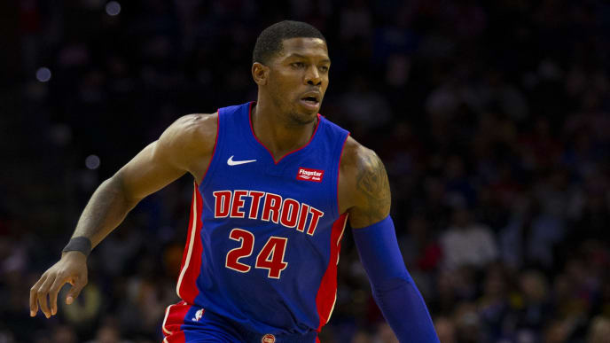PHILADELPHIA, PA - OCTOBER 15: Joe Johnson #24 of the Detroit Pistons dribbles the ball against the Philadelphia 76ers during the preseason game at the Wells Fargo Center on October 15, 2019 in Philadelphia, Pennsylvania. The 76ers defeated the Pistons 106-86. NOTE TO USER: User expressly acknowledges and agrees that, by downloading and or using this photograph, User is consenting to the terms and conditions of the Getty Images License Agreement. (Photo by Mitchell Leff/Getty Images)