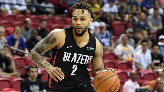 LAS VEGAS, NEVADA - JULY 06:  Gary Trent Jr. #2 of the Portland Trail Blazers brings the ball up the court against the Detroit Pistons during the 2019 NBA Summer League at the Thomas & Mack Center on July 6, 2019 in Las Vegas, Nevada. The Pistons defeated the Trail Blazers 93-73. NOTE TO USER: User expressly acknowledges and agrees that, by downloading and or using this photograph, User is consenting to the terms and conditions of the Getty Images License Agreement.  (Photo by Ethan Miller/Getty Images)