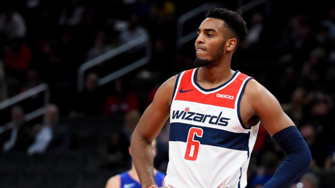 WASHINGTON, DC - NOVEMBER 04: Troy Brown Jr. #6 of the Washington Wizards looks on against the Detroit Pistons during the first half at Capital One Arena on November 4, 2019 in Washington, DC. NOTE TO USER: User expressly acknowledges and agrees that, by downloading and or using this photograph, User is consenting to the terms and conditions of the Getty Images License Agreement. (Photo by Will Newton/Getty Images)