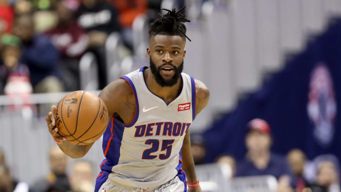 WASHINGTON, DC - JANUARY 21: Reggie Bullock #25 of the Detroit Pistons dribbles the ball against the Washington Wizards in the first half at Capital One Arena on January 21, 2019 in Washington, DC. NOTE TO USER: User expressly acknowledges and agrees that, by downloading and or using this photograph, User is consenting to the terms and conditions of the Getty Images License Agreement. (Photo by Rob Carr/Getty Images)