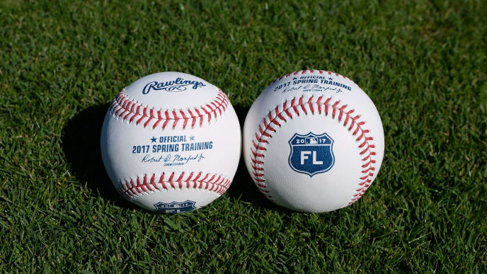 LAKELAND, FL - FEBRUARY 10:  A detailed view of a pair of official Rawlings 2017 Florida Grapefruit League Spring Training baseballs sitting on the field at Publix Field at Joker Marchant Stadium on February 10, 2017 in Lakeland, Florida.  (Photo by Mark Cunningham/MLB Photos via Getty Images)