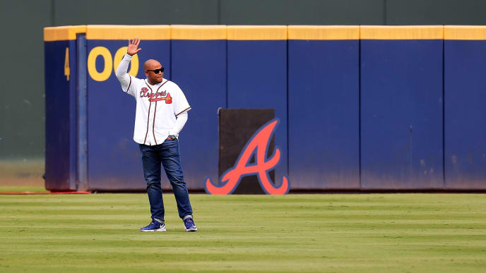 ATLANTA, GA - OCTOBER 02: Former Atlanta Braves player Andruw Jones is introduced as a member of the All Turner Field Team prior to the game at Turner Field on October 2, 2016 in Atlanta, Georgia. (Photo by Daniel Shirey/Getty Images)