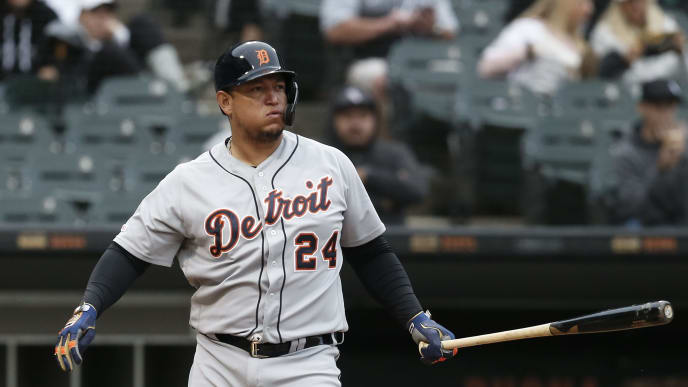 CHICAGO, ILLINOIS - SEPTEMBER 28:  Miguel Cabrera #24 of the Detroit Tigers at bat during the game against the Chicago White Sox at Guaranteed Rate Field on September 28, 2019 in Chicago, Illinois. (Photo by Nuccio DiNuzzo/Getty Images)