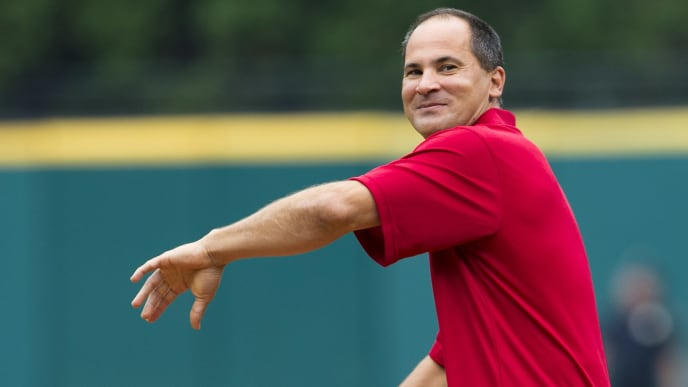 CLEVELAND, OH - JULY 6: Former Cleveland Indians great Omar Vizquel throws out the first pitch prior to the game between the Cleveland Indians and the Detroit Tigers at Progressive Field on July 6, 2013 in Cleveland, Ohio.  (Photo by Jason Miller/Getty Images)