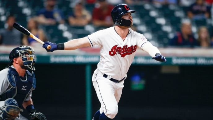 CLEVELAND, OH - JULY 16: Tyler Naquin #30 of the Cleveland Indians hits a solo home run off Blaine Hardy #36 of the Detroit Tigers during the sixth inning at Progressive Field on July 16, 2019 in Cleveland, Ohio. (Photo by Ron Schwane/Getty Images)