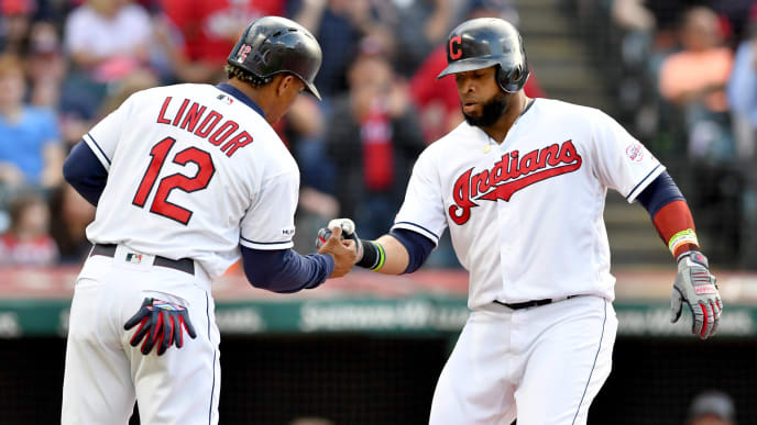 CLEVELAND, OHIO - JUNE 21: Francisco Lindor #12 and Carlos Santana #41 of the Cleveland Indians celebrate after both scored on a homer by Santana during the first inning against the Detroit Tigers at Progressive Field on June 21, 2019 in Cleveland, Ohio. (Photo by Jason Miller/Getty Images)