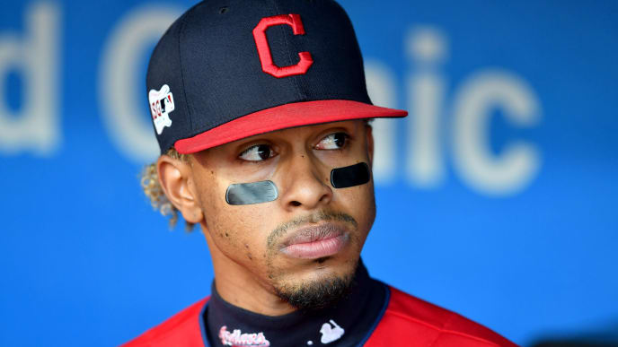 CLEVELAND, OHIO - SEPTEMBER 17: Francisco Lindor #12 of the Cleveland Indians in the dugout prior to the game against the Detroit Tigers at Progressive Field on September 17, 2019 in Cleveland, Ohio. (Photo by Jason Miller/Getty Images)