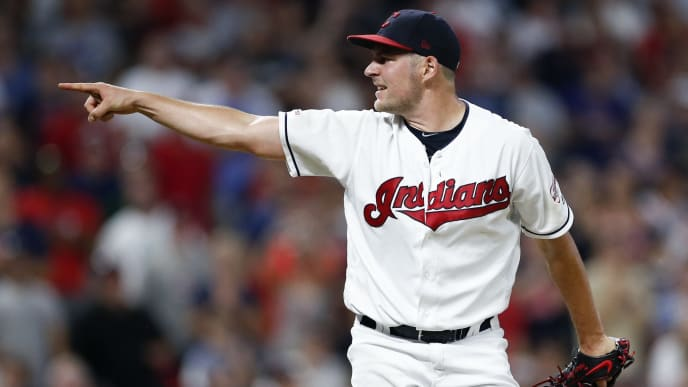 CLEVELAND, OH - JULY 18: Starting pitcher Trevor Bauer #47 of the Cleveland Indians points to home plate after a pitch against the Detroit Tigers during the seventh inning at Progressive Field on July 18, 2019 in Cleveland, Ohio. (Photo by Ron Schwane/Getty Images)