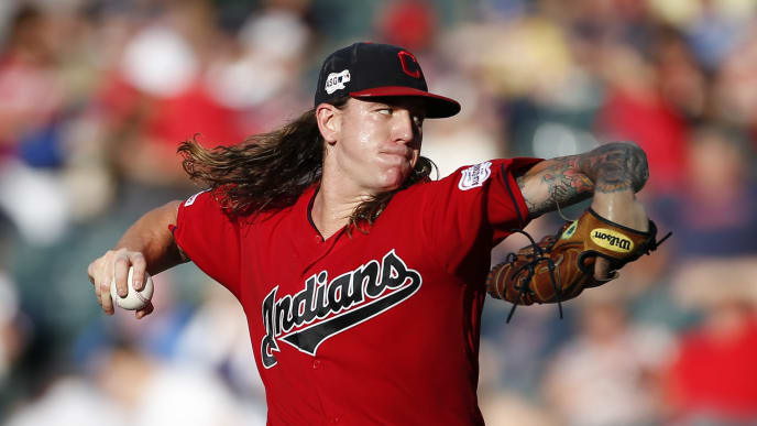 CLEVELAND, OH - JULY 17: Starting pitcher Mike Clevinger #52 of the Cleveland Indians pitches against the Detroit Tigers during the first inning at Progressive Field on July 17, 2019 in Cleveland, Ohio. (Photo by Ron Schwane/Getty Images)
