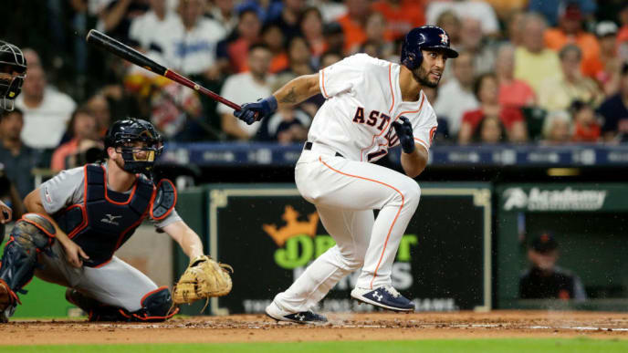 HOUSTON, TX - AUGUST 22:  Abraham Toro #13 of the Houston Astros grounds out in his first MLB at bat in the second inning against the Detroit Tigers at Minute Maid Park on August 22, 2019 in Houston, Texas.  (Photo by Tim Warner/Getty Images)