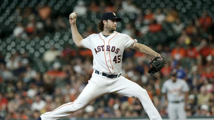 HOUSTON, TX - AUGUST 22:  Gerrit Cole #45 of the Houston Astros pitches in the first inning against the Detroit Tigers at Minute Maid Park on August 22, 2019 in Houston, Texas.  (Photo by Tim Warner/Getty Images)