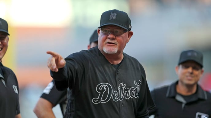 MINNEAPOLIS, MN - AUGUST 23: Manager Ron Gardenhire #15 of the Detroit Tigers before the game against the Minnesota Twins at Target Field on August 23, 2019 in Minneapolis, Minnesota. Teams are wearing special color schemed uniforms with players choosing nicknames to display for Players' Weekend. (Photo by Adam Bettcher/Getty Images)