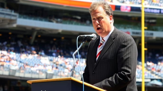 NEW YORK - JULY 19:  New York Yankees television broadcaster Michael Kay speaks during the teams 63rd Old Timers Day before the game against the Detroit Tigers on July 19, 2009 at Yankee Stadium in the Bronx borough of New York City.  (Photo by Jim McIsaac/Getty Images)