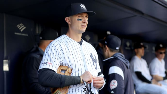 NEW YORK, NEW YORK - APRIL 03:  Troy Tulowitzki #12 of the New York Yankees stands in the dugout before the game against the Detroit Tigers at Yankee Stadium on April 03, 2019 in the Bronx borough of New York City. (Photo by Elsa/Getty Images)
