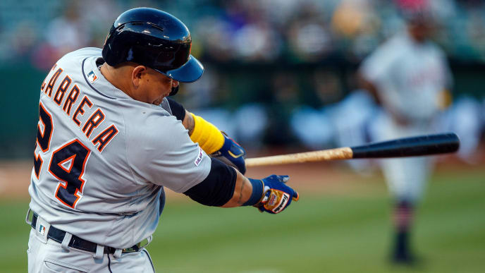 OAKLAND, CA - SEPTEMBER 07:  Miguel Cabrera #24 of the Detroit Tigers hits a single against the Oakland Athletics during the first inning at the RingCentral Coliseum on September 7, 2019 in Oakland, California. (Photo by Jason O. Watson/Getty Images)