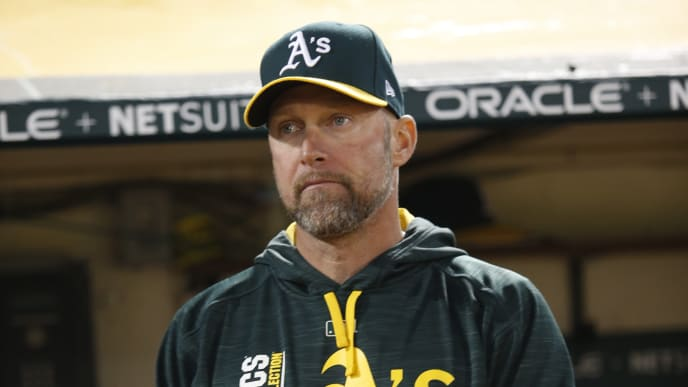 OAKLAND, CA - MAY 6: Bench Coach Mark Kotsay #7 of the Oakland Athletics stands in the dugout during the game against the Detroit Tigers at the Oakland Alameda Coliseum on May 6, 2017 in Oakland, California. The Athletics defeated the Tigers 6-5. (Photo by Michael Zagaris/Oakland Athletics/Getty Images)