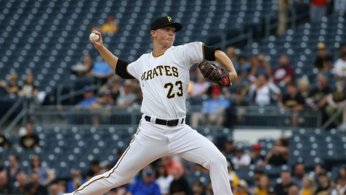 PITTSBURGH, PA - JUNE 18:  Mitch Keller #23 of the Pittsburgh Pirates pitches in the first inning against the Detroit Tigers during inter-league play at PNC Park on June 18, 2019 in Pittsburgh, Pennsylvania.  (Photo by Justin K. Aller/Getty Images)