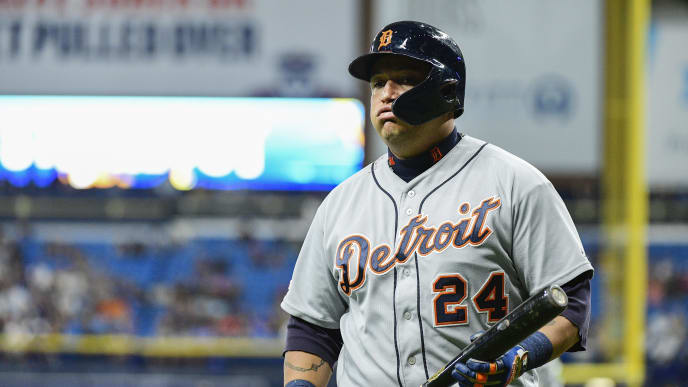 ST. PETERSBURG, FLORIDA - AUGUST 17: Miguel Cabrera #24 of the Detroit Tigers reacts after striking out to Diego Castillo #63 of the Tampa Bay Rays in the 12th inning of a baseball game at Tropicana Field on August 17, 2019 in St. Petersburg, Florida. (Photo by Julio Aguilar/Getty Images)