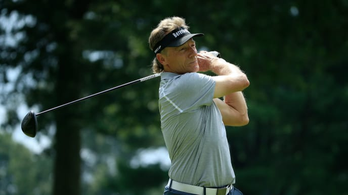 ENDICOTT, NY - AUGUST 17:  Bernhard Langer of Germany hits his drive on the second hole during the second round of the DICK'S Sporting Goods Open at En-Joie Golf Course on August 17, 2019 in Endicott, New York.  (Photo by Michael Cohen/Getty Images)
