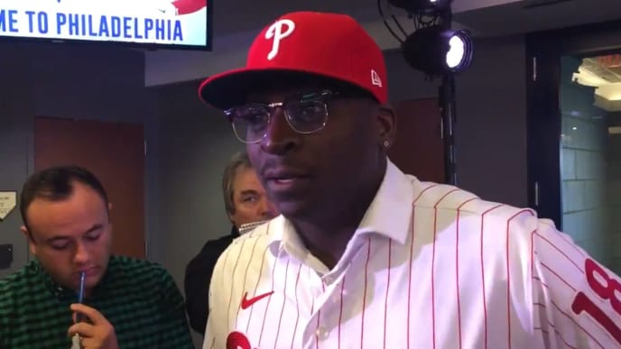 Didi Gregorius answering questions about the Yankees after signing with the Philadelphia Phillies
