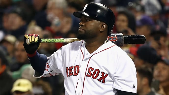 BOSTON, MA - OCTOBER 10:  David Ortiz #34 of the Boston Red Sox looks on in the eighth inning against the Cleveland Indians during game three of the American League Divison Series at Fenway Park on October 10, 2016 in Boston, Massachusetts.  (Photo by Elsa/Getty Images)