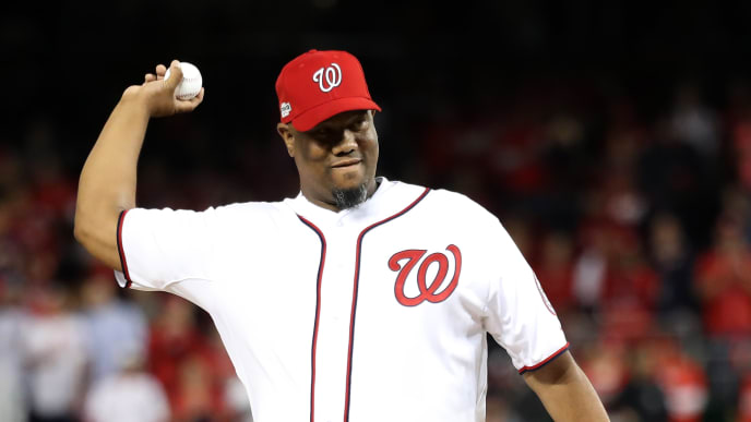 WASHINGTON, DC - OCTOBER 13: Former MLB player Livan Hernandez throws out the ceremonial first pitch prior to game five of the National League Division Series between the Los Angeles Dodgers and the Washington Nationals at Nationals Park on October 13, 2016 in Washington, DC. (Photo by Rob Carr/Getty Images)