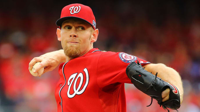 WASHINGTON, DC - OCTOBER 03:  Stephen Strasburg #37 of the Washington Nationals pitches in the first inning against the San Francisco Giants during Game One of the National League Division Series at Nationals Park on October 3, 2014 in Washington, DC.  (Photo by Al Bello/Getty Images)