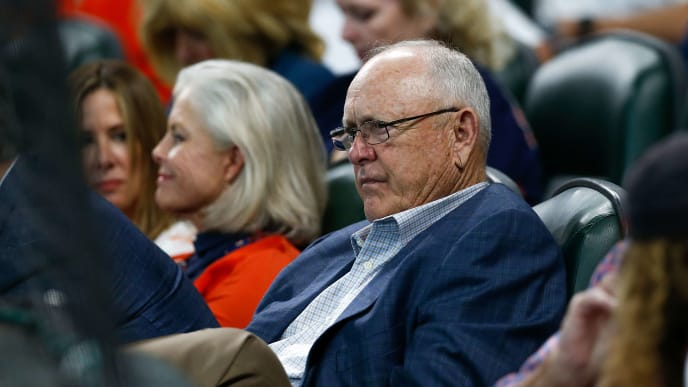 HOUSTON, TX - OCTOBER 05:  Hall of Famer and former Houston Astros pitcher Nolan Ryan looks on during Game One of the American League Division Series against the Cleveland Indians at Minute Maid Park on October 5, 2018 in Houston, Texas.  (Photo by Tim Warner/Getty Images)