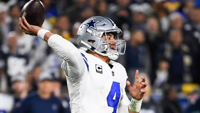 LOS ANGELES, CA - JANUARY 12: Quarterback Dak Prescott #4 of the Dallas Cowboys throws an incomplete pass in the third quarter against the Los Angeles Rams in the NFC Divisional Round playoff game at Los Angeles Memorial Coliseum on January 12, 2019 in Los Angeles, California. (Photo by Kevork Djansezian/Getty Images)