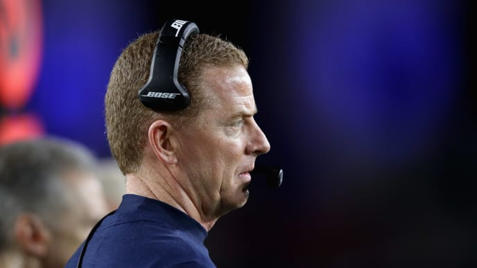 LOS ANGELES, CA - JANUARY 12:  Head coach Jason Garrett of the Dallas Cowboys looks on during the NFC Divisional Playoff game against the Los Angeles Rams  at Los Angeles Memorial Coliseum on January 12, 2019 in Los Angeles, California. The Rams defeated the Cowboys 30-22.  (Photo by Sean M. Haffey/Getty Images)