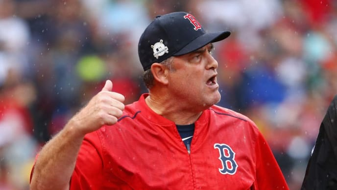 BOSTON, MA - OCTOBER 09:  Manager John Farrell of the Boston Red Sox argues a call in the second inning and is ejected from game four of the American League Division Series against the Houston Astros at Fenway Park on October 9, 2017 in Boston, Massachusetts.  (Photo by Maddie Meyer/Getty Images)