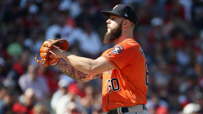 CLEVELAND, OH - OCTOBER 08:  Dallas Keuchel #60 of the Houston Astros pitches in the first inning against the Cleveland Indians during Game Three of the American League Division Series at Progressive Field on October 8, 2018 in Cleveland, Ohio.  (Photo by Gregory Shamus/Getty Images)