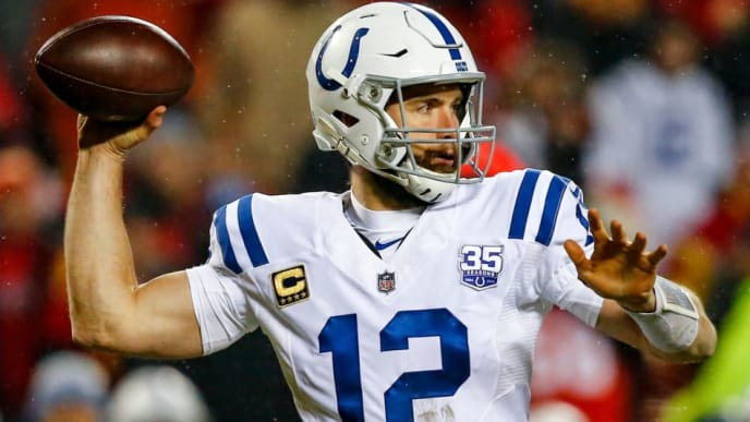 KANSAS CITY, MO - JANUARY 12: Andrew Luck #12 of the Indianapolis Colts throws a pass against the Kansas City Chiefs during the third quarter of the AFC Divisional Round playoff game at Arrowhead Stadium on January 12, 2019 in Kansas City, Missouri. (Photo by David Eulitt/Getty Images)