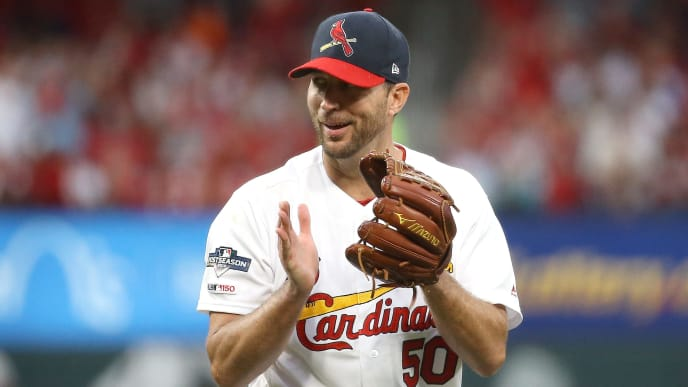 ST LOUIS, MISSOURI - OCTOBER 06:  Adam Wainwright #50 of the St. Louis Cardinals reacts after retiring the side against the Atlanta Braves during the seventh inning in game three of the National League Division Series at Busch Stadium on October 06, 2019 in St Louis, Missouri. (Photo by Scott Kane/Getty Images)