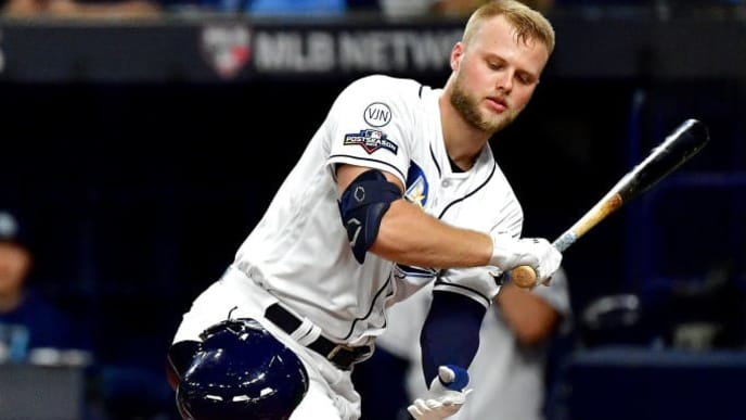 ST PETERSBURG, FLORIDA - OCTOBER 08:  Austin Meadows #17 of the Tampa Bay Rays at bat against the Houston Astros during the second inning in game four of the American League Division Series at Tropicana Field on October 08, 2019 in St Petersburg, Florida. (Photo by Julio Aguilar/Getty Images)