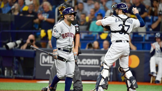 ST PETERSBURG, FLORIDA - OCTOBER 08:  Jose Altuve #27 of the Houston Astros reacts after striking out against the Tampa Bay Rays during the first inning in game four of the American League Division Series at Tropicana Field on October 08, 2019 in St Petersburg, Florida. (Photo by Julio Aguilar/Getty Images)
