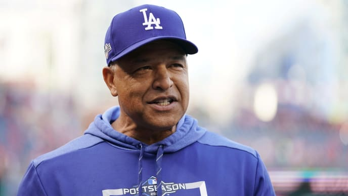 WASHINGTON, DC - OCTOBER 07: Manager Dave Roberts #30 of the Los Angeles Dodgers looks on during batting practice before Game Four of the National League Divisional Series against the Washington Nationals at Nationals Park on October 7, 2019 in Washington, DC. (Photo by Patrick McDermott/Getty Images)