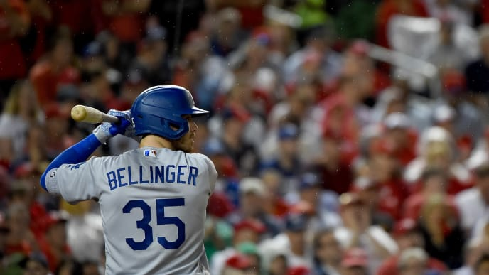 WASHINGTON, DC - OCTOBER 07: Cody Bellinger #35 of the Los Angeles Dodgers at bat against the Washington Nationals in Game Four of the National League Division Series at Nationals Park on October 7, 2019 in Washington, DC. (Photo by Will Newton/Getty Images)
