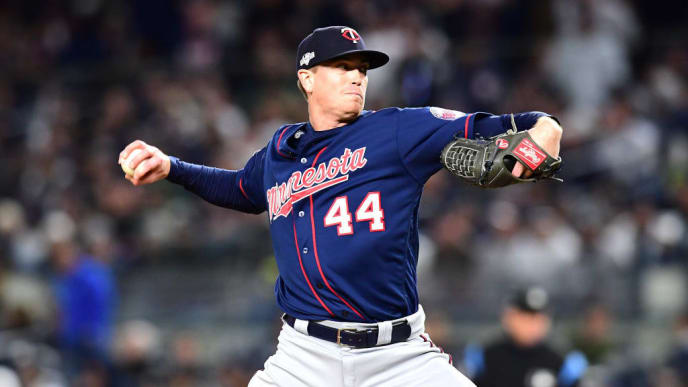 NEW YORK, NEW YORK - OCTOBER 04: Kyle Gibson #44 of the Minnesota Twins throws a pitch against the New York Yankees during the seventh inning in game one of the American League Division Series at Yankee Stadium on October 04, 2019 in New York City. (Photo by Emilee Chinn/Getty Images)