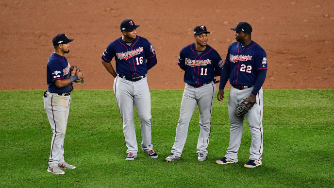 NEW YORK, NEW YORK - OCTOBER 05: Luis Arraez #2, Jonathan Schoop #16, Jorge Polanco #11 and Miguel Sano #22 of the Minnesota Twins stand together during a pitching change during their game against the New York Yankees during game two of the American League Divisional Series at Yankee Stadium on October 04, 2019 in the Bronx borough of New York City. (Photo by Emilee Chinn/Getty Images)